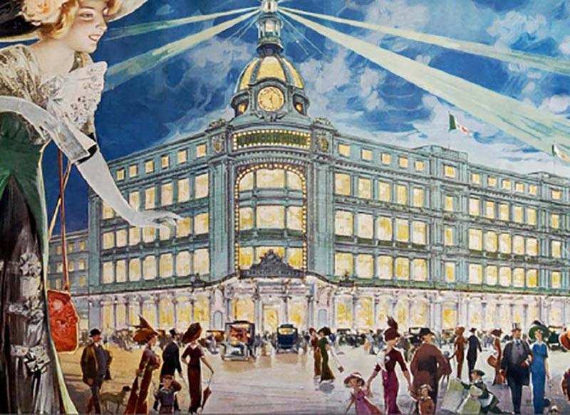 Excelente ilustración de la arquitectura de El Palacio de Hierro en la que se hace evidente que la gente elegante ocurría a comprar al citado establecimiento. Crédito: http://www.bing.com