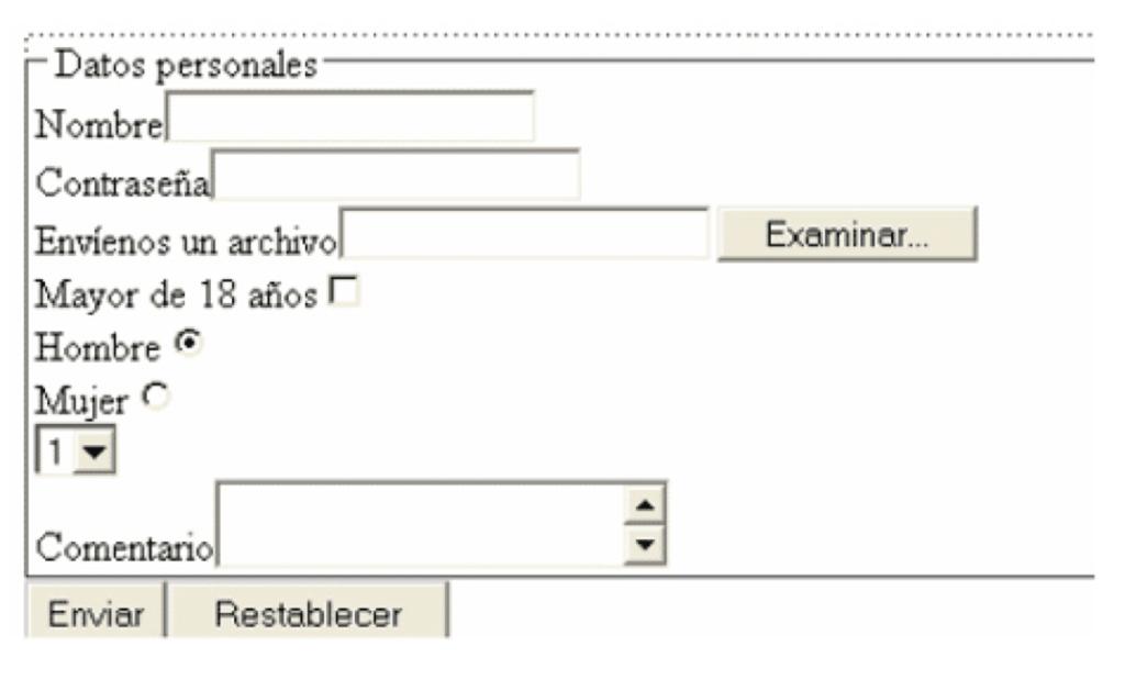 Imagen 3. Ejemplo de elementos de formulario.