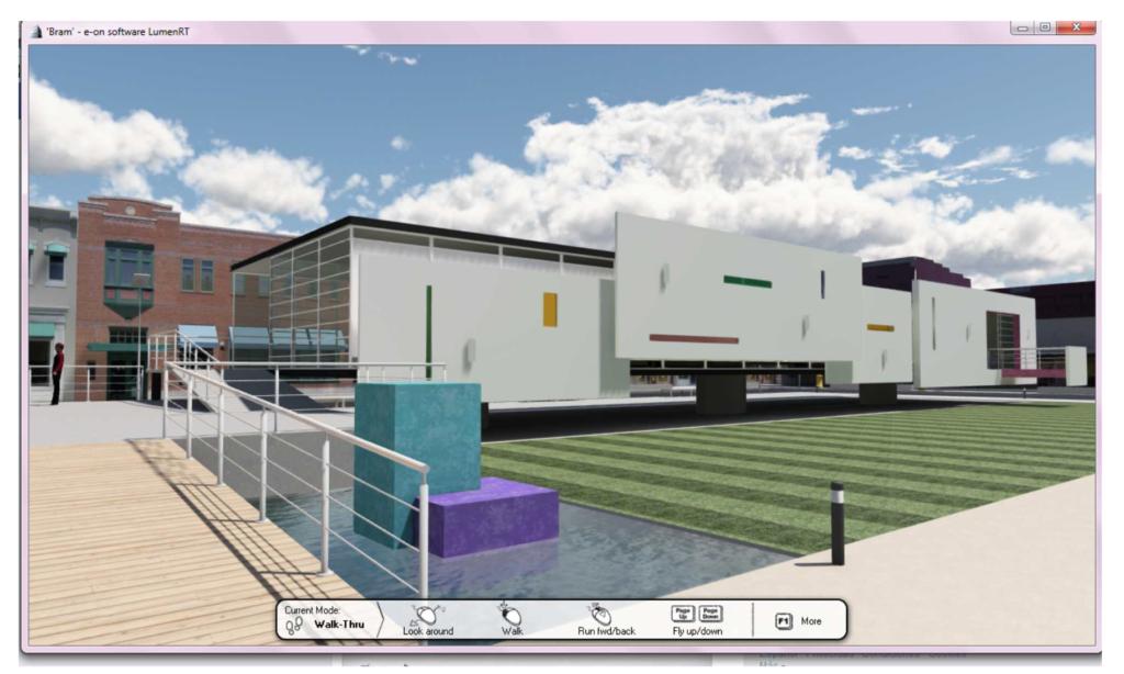 Fig. 4 Galería en su entorno con texturas aplicadas y ambientación, render en tiempo real generado por LumenRT.